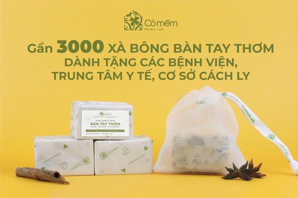 Cỏ Mềm gửi tặng gần 3000 bánh xà bông cho bệnh viện, trung tâm y tế và cơ sở cách ly
