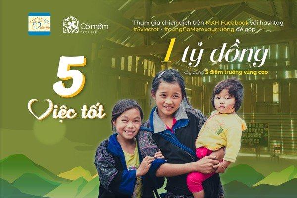 Mỹ phẩm Cỏ Mềm phát động '5 việc tốt' góp quỹ xây trường ở vùng cao - Vietnamnet đưa tin